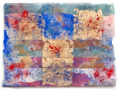 Erosions of the Square in Blue I- Abstract Small Painting on Japanese Silk Paper