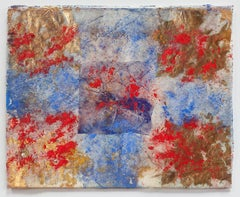 Erosions of the Square III - Abstract Small Painting on Japanese Silk Paper