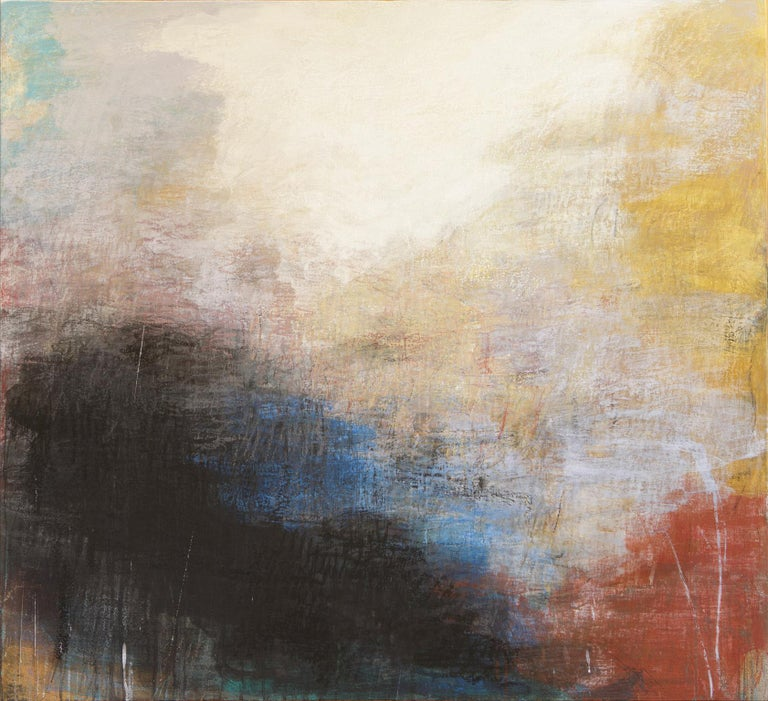 Orazio De Gennaro Abstract Painting - Tempo Perso II - Black, Yellow and Red Large Abstract Pastel Oil Painting