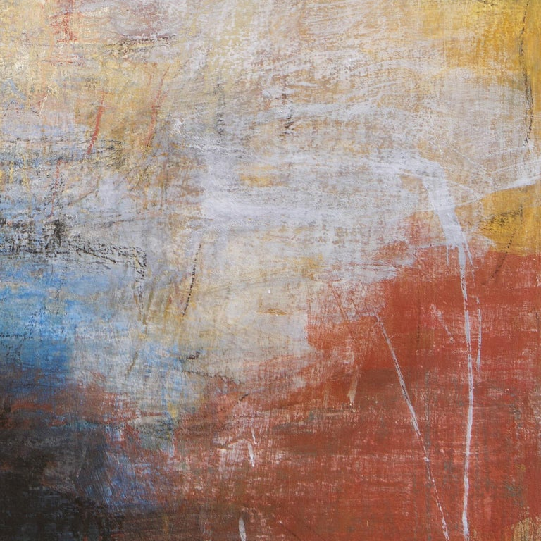 Tempo Perso II - Black, Yellow and Red Large Abstract Pastel Oil Painting For Sale 1