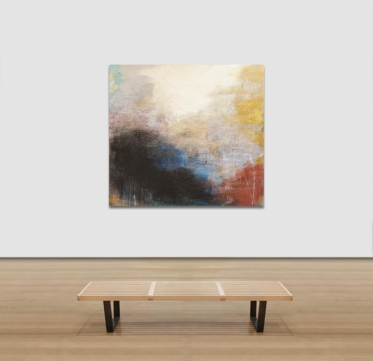 Tempo Perso II - Black, Yellow and Red Large Abstract Pastel Oil Painting For Sale 2