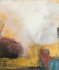 Terrae Etrusca - White and Yellow Large Abstract Landscape Oil Painting