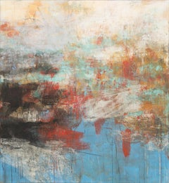 V:MMX - Azure, White and Red Abstract Pastel Oil Painting