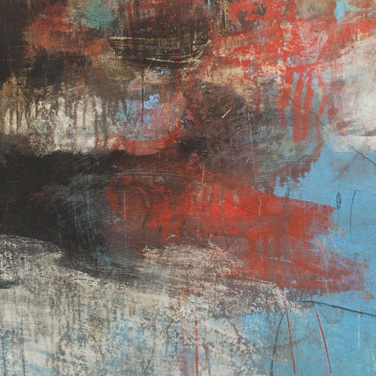 V:MMX - Azure, White and Red Abstract Pastel Oil Painting For Sale 4