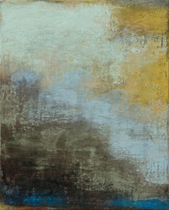 Terra-Ombre II (Earth-Shadows II) - Yellow and Blue Abstract Pastel Oil Painting