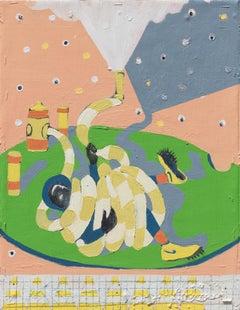 """ Mumbo Jumbo #9 "" - Green and pink figurative small painting on canvas"