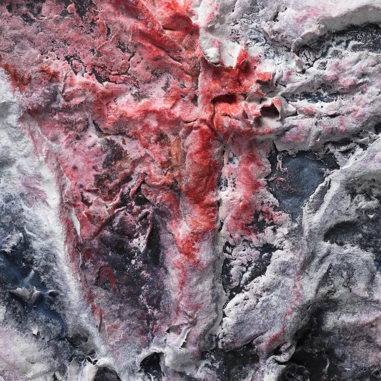 Ardere Nix (Burning Snow) - Small abstract red and black work on paper For Sale 1