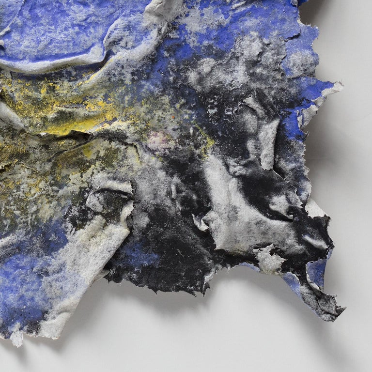 Brumalis Dies (Winter Solstice) - Small abstract blue and yellow work on paper For Sale 6