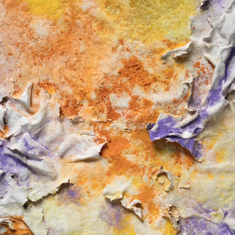 Solstitium (Summer Solstice) - Small Abstract Orange and Purple Work on Paper For Sale 1