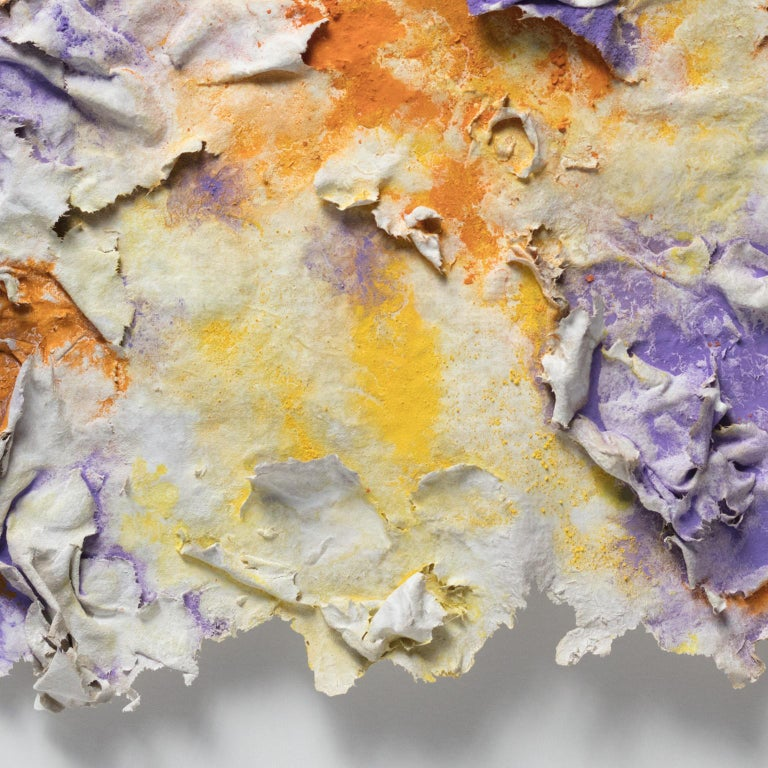 Solstitium (Summer Solstice) - Small Abstract Orange and Purple Work on Paper For Sale 2