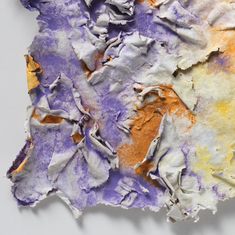 Solstitium (Summer Solstice) - Small Abstract Orange and Purple Work on Paper For Sale 5