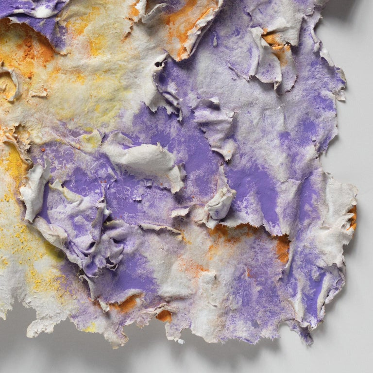 Solstitium (Summer Solstice) - Small Abstract Orange and Purple Work on Paper For Sale 6