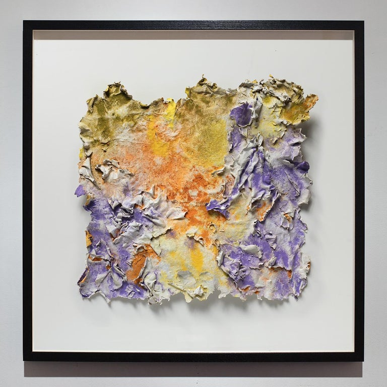 Solstitium (Summer Solstice) - Small Abstract Orange and Purple Work on Paper For Sale 7
