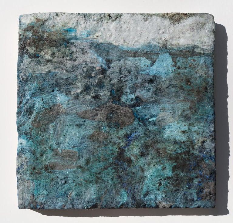 Terra Bruciata (Scorched Earth) #4 - Small abstract blue painting - Mixed Media Art by Orazio De Gennaro