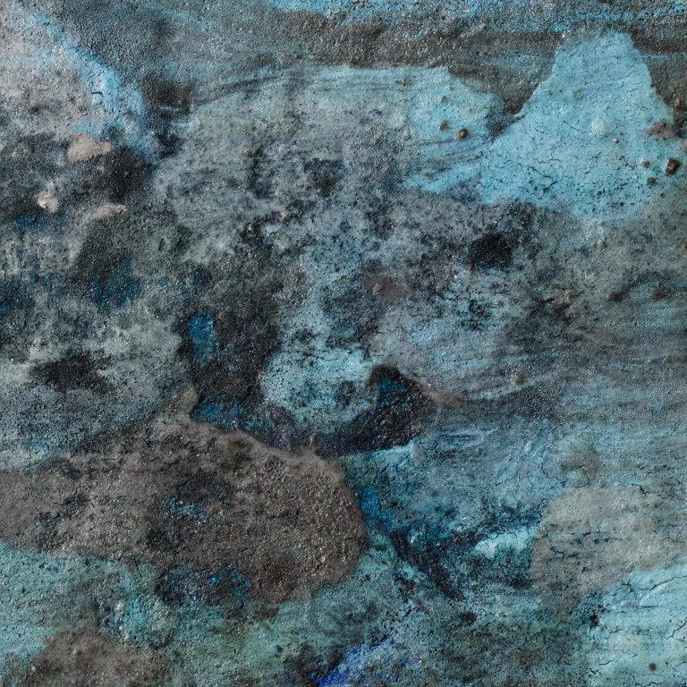 Terra Bruciata (Scorched Earth) #4 - Small abstract blue painting - Contemporary Mixed Media Art by Orazio De Gennaro