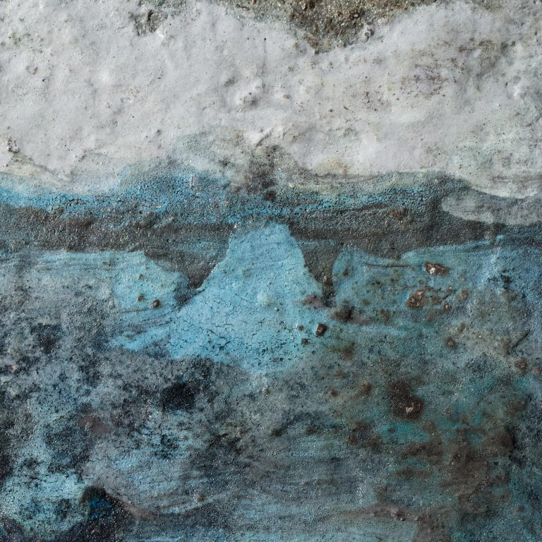 Terra Bruciata (Scorched Earth) #4 - Small abstract blue painting For Sale 1