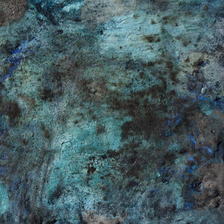 Terra Bruciata (Scorched Earth) #4 - Small abstract blue painting For Sale 2
