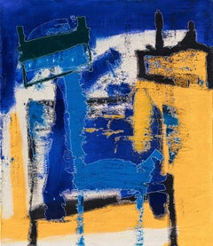 The Squares that Define - Yellow and Blue Abstract Oil Painting
