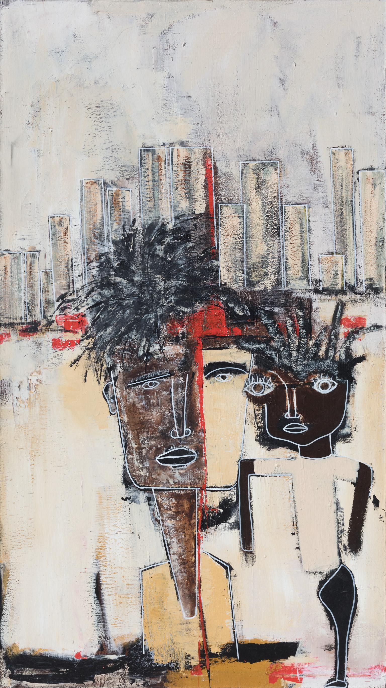 The Tourist - Large Expressionist Figurative Painting of Two Figures