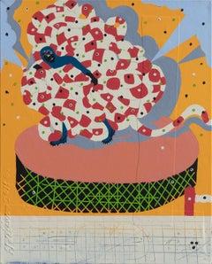 Mumbo Jumbo NYC#7 - Figurative Painting with Pink, Orange, and Blue Colors
