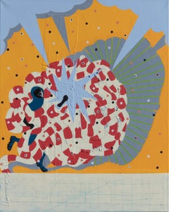 Mumbo Jumbo NYC#6 - Figurative Painting with Red, Orange, and Blue Colors