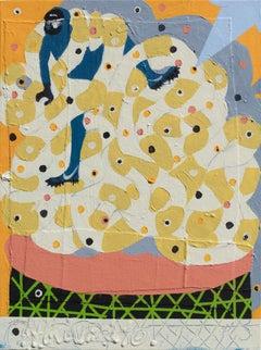 Mumbo Jumbo Study #15 - Figurative Painting with Blue, Orange, and Ochre Colors