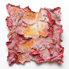 Aestas (Summer Heat) - Small Abstract Orange and Red Work on Paper