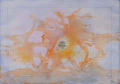 Untitled - Abstract Landscape Watercolor with Orange and Mauve Colors