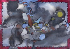 Watercolor in Grey - Abstract Watercolor with Mauve and Blue Colors