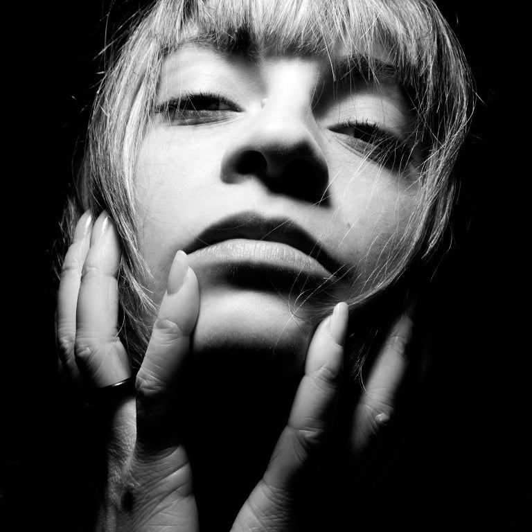 Jean-Luc Fievet Portrait Photograph - Untitled # 8 - 2008 - Sensual Full Face Black and White Portrait of Young Woman