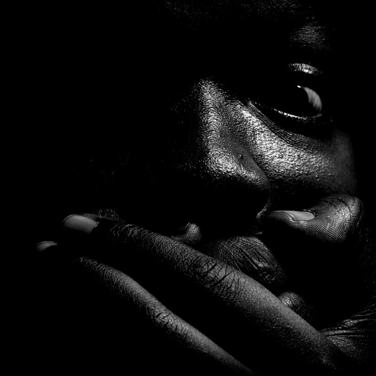 Jean-Luc Fievet Black and White Photograph - Untitled # 1 1 - 2008 - Expressionist Full Face Black and White Portrait of Man