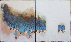 Pilgrimage #26 -Blue and White Figurative Painting on Canvas with Collaged Piece