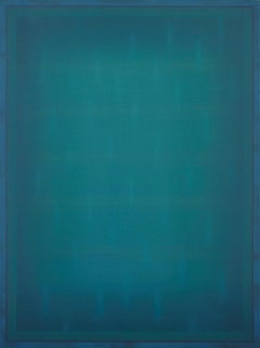 Memory Almost in Reach - Large Aqua Blue Color Field Painting