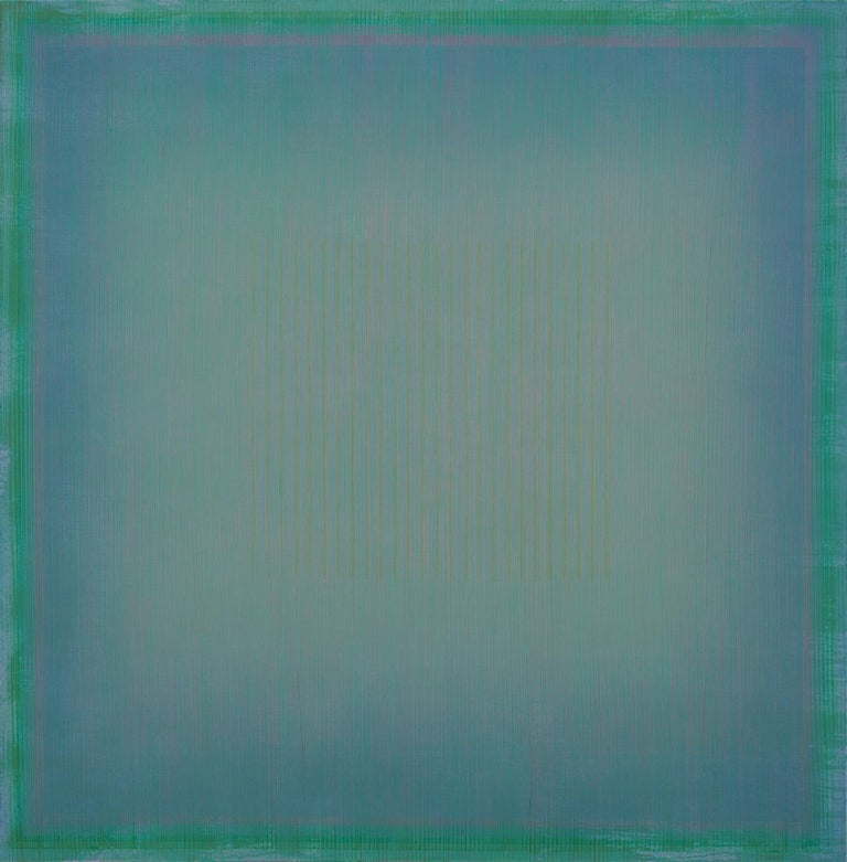 Marc Ross Abstract Painting - Unafraid of the Night - Large Aqua Blue Color Field Painting