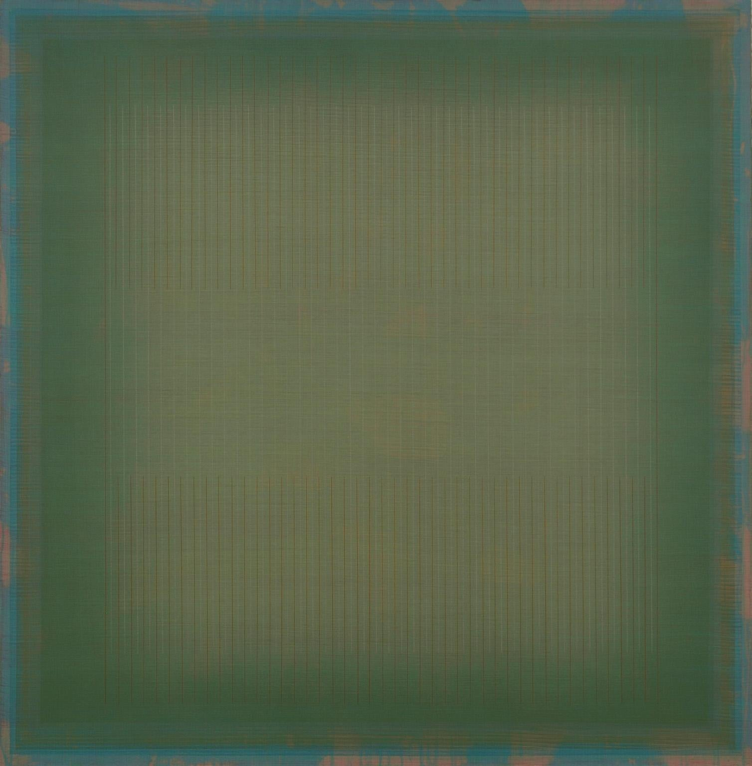 Like Setting Suns at the Rodeo - Large Green Geometric Color Field Painting