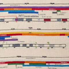 Cromo 7 - Artwork with Embroidery Representing Chromosome Genes