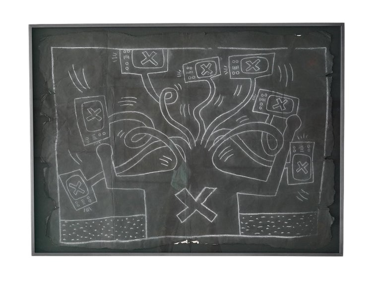 """Keith Haring Figurative Painting - Untitled """"TV Hydra"""""""