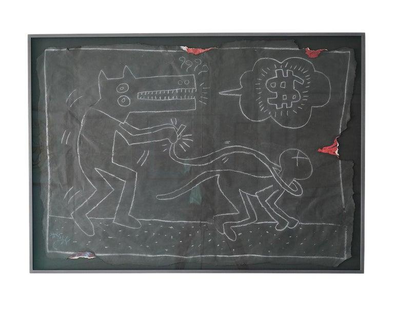 "Keith Haring Figurative Art - Untitled ""Dog Walking Cat"""