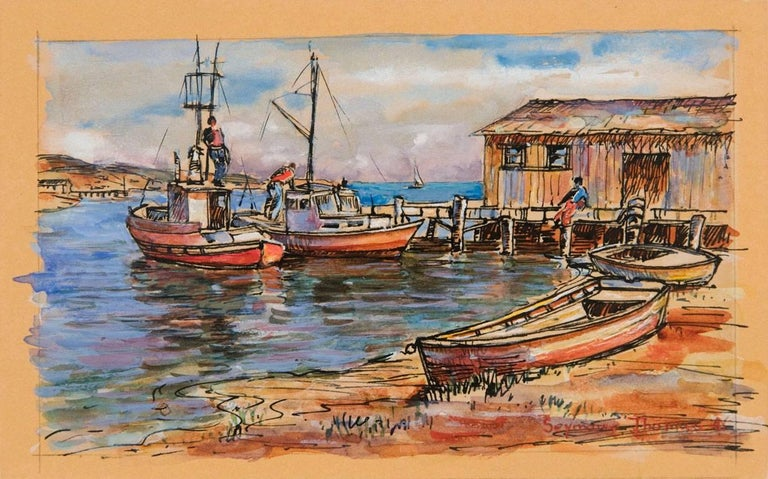 "gouache with pen and ink  signed ""Seymour Thomas"" at lower right"