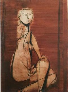 Seated Nude by Jankel Adler - Modern art, Polish artist, oil wash on paper