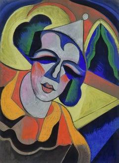 Clown by Hugó Scheiber - Modern Hungarian art, pastel on paper, original artwork