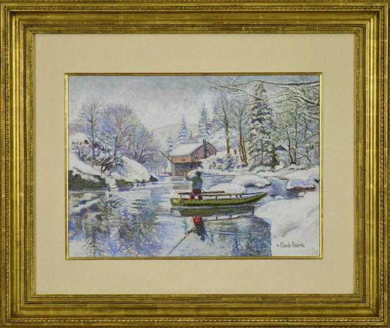 <i>Neige aux Bords du Doubs: la Barque Jura Neuchâtelois en Hiver</i>, contemporary, by H. Claude Pissarro
