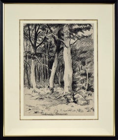 Vue d'une Forêt by Paulémile Pissarro - View of a forest, landscape drawing
