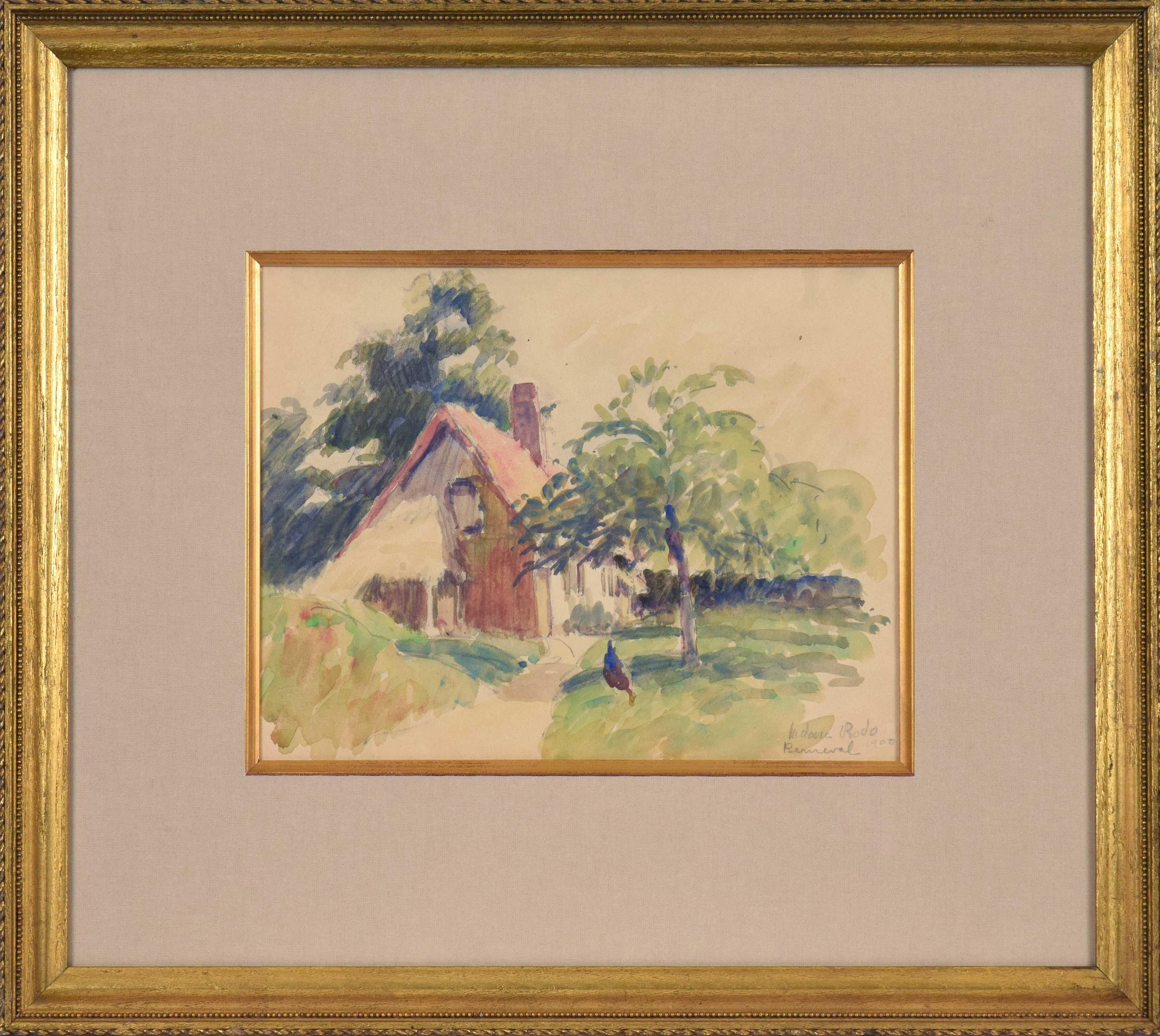 Berneval, LUDOVIC-RODO PISSARRO-Post-Impressionist, Watercolour, House, Village