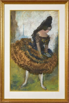 Flamenco Dancer by Roboa Pissarro - Spanish dancer, work on paper, female artist