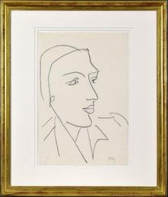 Tête de Profil by Henri Matisse - Portrait by Modern master, line drawing, art