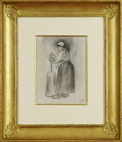 Paysanne Barattant by CAMILLE PISSARRO - Drawing by Impressionist Master, 19th c