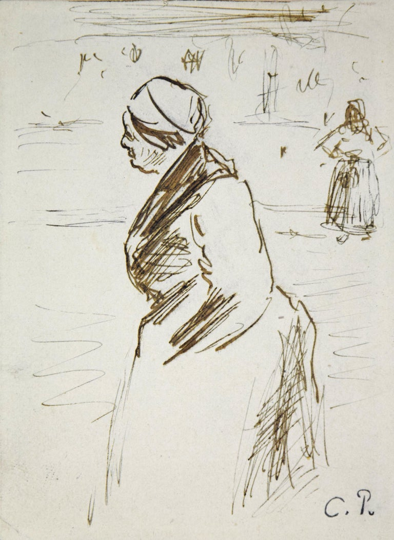 Camille Pissarro Figurative Art - Au Marché by CAMILLE PISSARRO - Ink drawing by Impressionist master