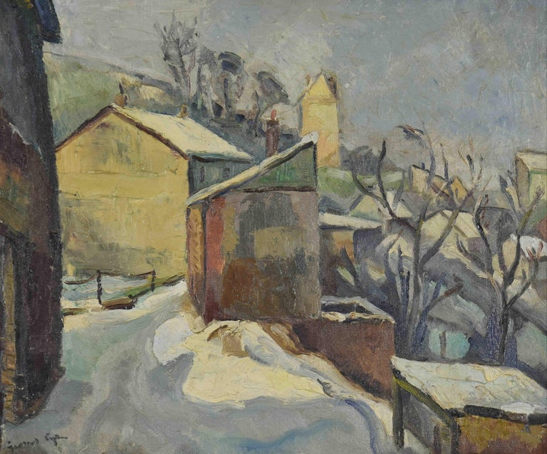 Georges Cyr Landscape Painting - Neige à Rouen by GEORGES CYR - Snow scene, landscape painting, oil on canvas