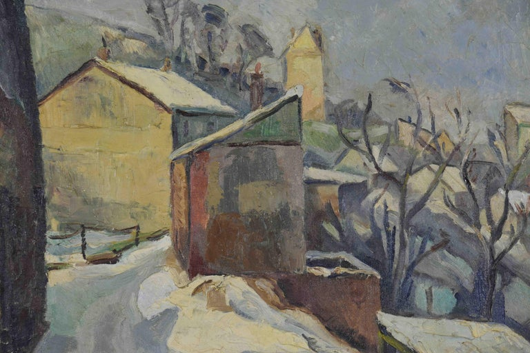 Neige à Rouen by GEORGES CYR (1880-1964)  Oil on canvas 46 x 54.9 cm (18 1/8 x 21 5/8 inches) Signed lower left George Cyr Signed again and titled on the reverse  Provenance: The private collection of Paulemile Pissarro